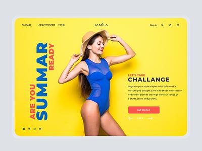 Jamila - Fitness Trainer Landing Page Header Concept web design website web web page landing landing page