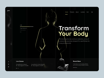 Yoga Expert Landing Page Header Exploration dark theme dark ui dark mode dark landig page hero lading page uiux website landing page ui one pager contact us about us single page website single pager one page modern dark landing page landing page header