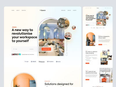 Co-Working Space Landing Page Website Design Exploration single page website one pager minimal contact us about us one page single page modern colorful coworking landing page coworking space landing page design landing page ui concepts exploration landing page