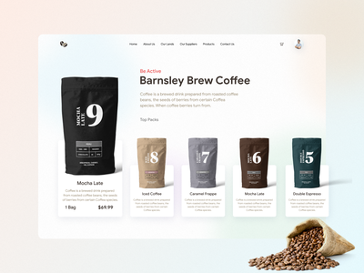 Coffee Shop  -  Landing Page UI creative corporate hero header lading page product page ui product cateogries one page single page app landing website landing page product design product page homepage home page web design web page landing page ui