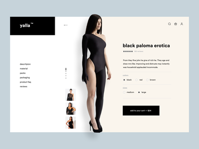 Yalla - Women Dresses Collection product design shopify one page single pager landig page creative corporate hero header lading page ecommerce shop product page shop ecommerce minimal web minimalistic minimal ui minimal product minimal ecommerce minimal