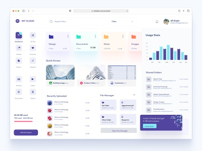 Free Dashboard UI For Cloud File Storage admin theme admin panel user dashboard admin dashboard uiux dashboard ui dashboad admin website design product design single pager one page design features file manager flat modern ui dashboard freebie