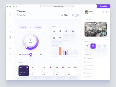 Smart Home Dashboard UI Concept - Freebie flat dashboard admin theme admin panel admin dashboard dashbaord dashboard clean ui dashboard ui product design single pager one page design iot design admin app interface uiux ux dashboad smarthome