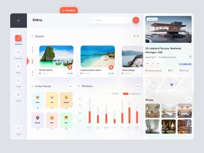 Travel Dashboard UI Concept - Freebie freebie booking places travel ui design ux ui design minimal app uiux ux interface dashboad