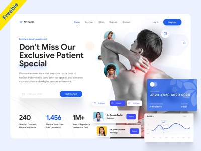Doctors Clinic Website UI header contact features clean ui ux one page website single page website one pager single page about us uiux ui app landing website landing page product page homepage homepage design web page