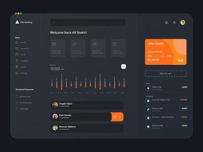 Banking Dashboard Dark UI dark theme dark mode dark ui dashboard ui single page one pager design website wallet finance banking ui design ux ui design minimal app uiux ux interface dashboad