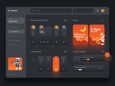 Unversity Dashboard UI Concept Dark Version dark dark ui education ui design ux ui design minimal app uiux ux interface dashboad