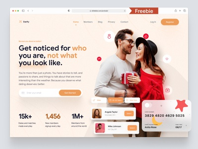Dating Site Landing Page Hero Concept web product design product page home page web design web page dating landing page concept one pager single page website homepage design landing page homepage