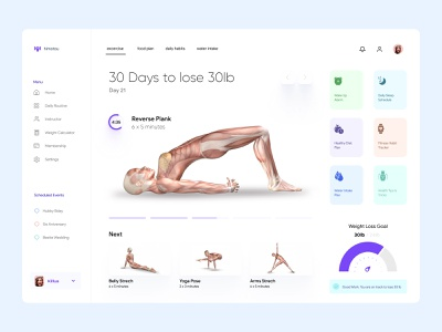 Weight Loss Dashboard UI Concept personal trainer dashboard healthcare graphs cards ui design ux ui design minimal app uiux ux interface dashboad