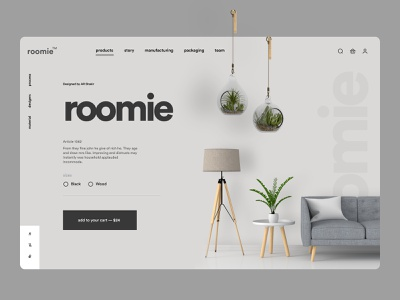 Roomie   Designers Furniture Store corporat hero header lading page ecommerce shop furniture flat modern minimal ecommerce design shopify ecommerce app landing web landing page product design product page homepage web design