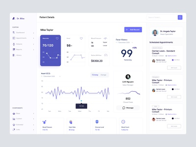 Patient Management Dashboard UI - F & L for Love user profile doctor medical admin theme user dashboard cms ui user interface interface design ui design ux dashboad web app dashboard ui windows app desktop app admin panel admin dashboard dashboard design