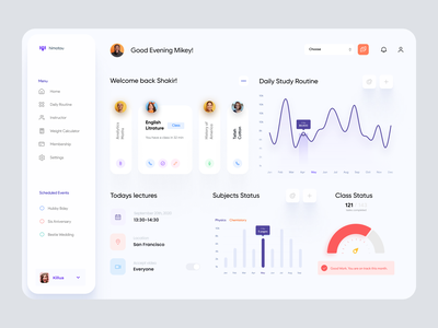 Online Class Dashboard UI classroom modern ui clean ui admin theme interface web app desktop app website analytics user dashboard admin panel admin dashboard admin ui dashboard design dashboad dashboard ui dashboard education app online education