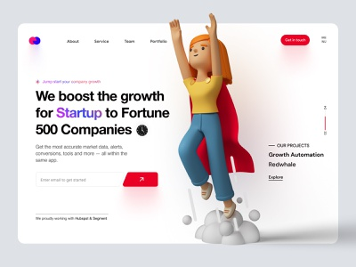 Growth Hacking Company Landing Page Exploration header design headline call to action landing page concept modern flat agency homepage homepage landing landing page design about us freelancer landing page ui uiux 3d website growth marketing agency header landing page