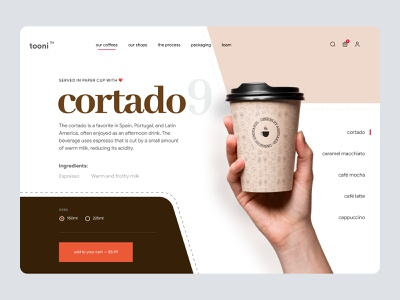 Coffee Shop  - Landing Page UI product page design shopify store shop coffeeshop ui landing page ui woocommerce shopify theme site website page product page shopify landingpage landing landing page design header ecommerce coffee shop landing page