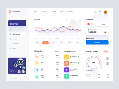 Crypto Currency Dashboard UI Concept webapp desktop app app analytics table view list view card ui cards sidebar graph interface uiux user dashboard admin theme admin panel dashboad admin ui dashboard ui dashboard admin