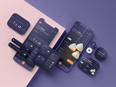 Smart Home App UI minimal modern uiux interface 3d swtich cards dark app dark ui dark mode smarthome smart app mobile mobileapp mobile app app ui app home smart smart home