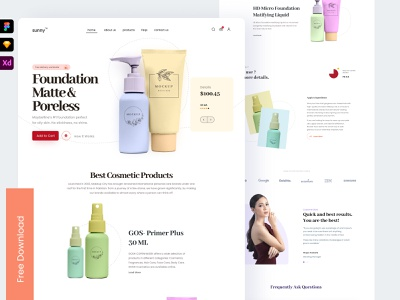 Freebie - Landing Page UI for Ecommerce Website beauty one page about features contact cosmetics web page web homepageui full page website landing page one pager single product single page home landing freebie homepage