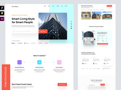web : landing page for real estate graphic design design blocks testimonails top nav footer content features contact about us listing real estate agency web design webdesign homepage freebie landing page landing website