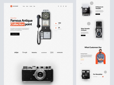 landing page design for antique products web design website homepage landing page landing