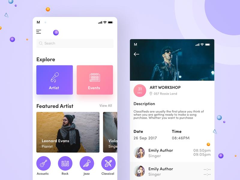 Music Even App Concept mobile app design mobile app mobile ui event music gradient background sketch app flat  design