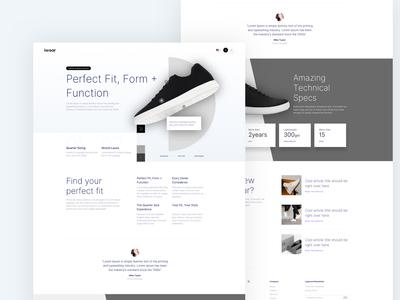 Shoes Website Landing Page Design