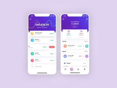 Finance App   Income and Balance Screens