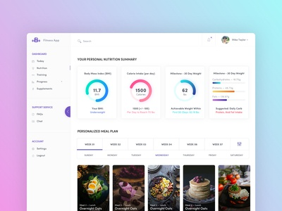 Fitness App  - Personalised Meal Plan Concept