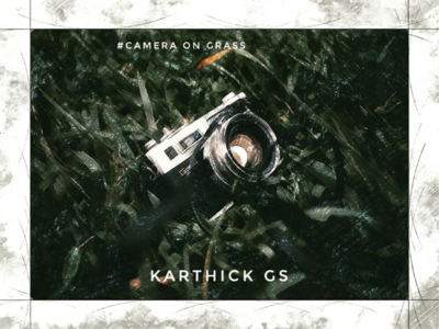 Vintage camera on Grass karthick studios grass illustration camera vintage