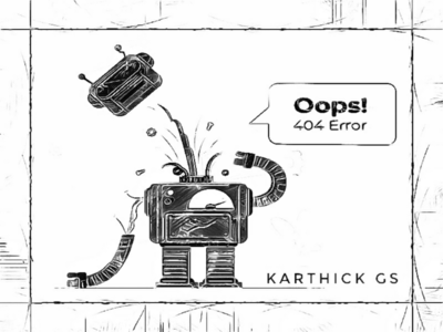 Robot broken oops vintage robot vintage digital art karthick studios illustration 404 not found sketch