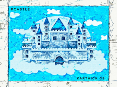 Blue Castle karthick studios sky blue castle pencil sketch design illustration sketch