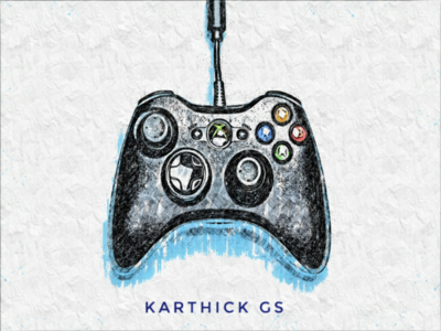 Gamer karthick studios vector art illustration joystick pencil art sketch design controller gamer