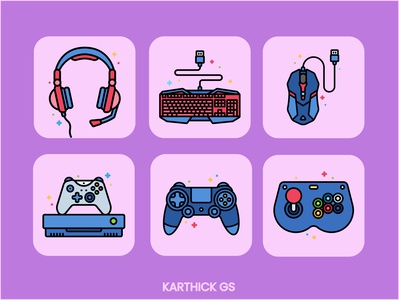 Gamers Icon Set karthick studios gaming gamerguy gamer illustration icon design iconography icons icon set