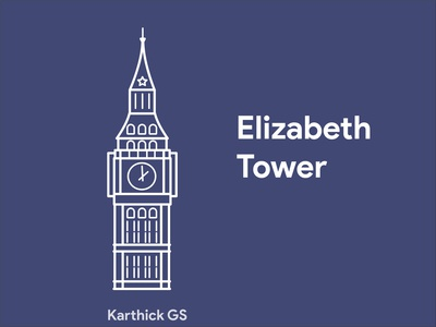 Elizabeth Tower karthick studios line drawing digital art branding sketch illustration london elizabeth tower tower elizabeth