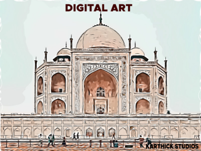 Digital Art Taj Mahal illustration karthick studios digital art