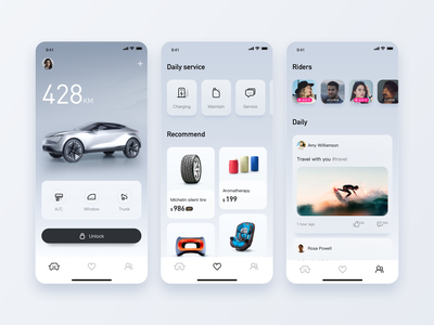 Car App design color sketch ui app card car