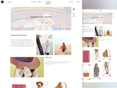 Gleam - Editorial Page online ecommerce store angular sketch ux ui mobile app fashion gleam