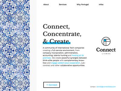 Web site - Connect Lisboa angular lisbon design mobile ui ux sketch artsy minimal template branding agency