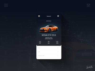 Car Inventory UI Prototype ui pack uiinspiration freeui gtr dashboardapp carinventory carapp ui elements appdesigner appdesign uidesign uiux ui
