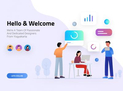 Simple Hello Landing Page Illustration web web design design app landingpage avatar app flat iconography branding blue ui illustration design