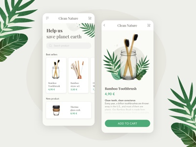Clean Nature | e-commerce concept plant sketch green add to cart cart straw toothbrush bamboo products eco-friendly nature zero waste shop ecommerce mobile ux ui