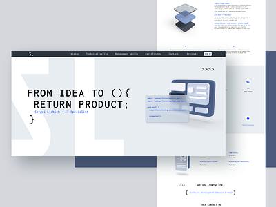 Personal website for IT specialist portfolio developer portfolio personal website landing page ui webdesign landingpage landing 3d website web design layout real project ui clean
