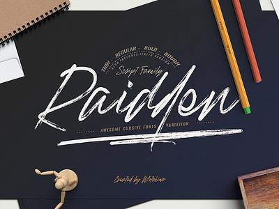 Raidden Script Font Family font bundle handwriting type design font collection cursive font font awesome typography handwritten font