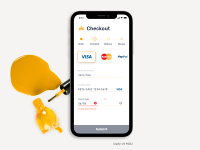 Daily UI 002 - Credit Card Checkout - Mobile