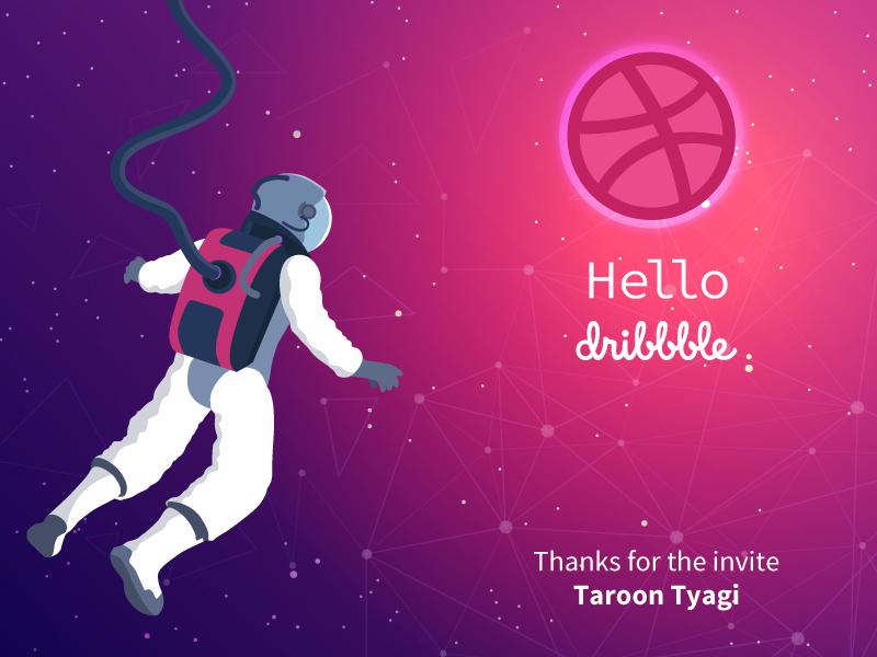 Debut Shot - Hello Dribbble space art space inspiration dribbble design vector illustration illustr8ed debut shot debutshot debuts debut