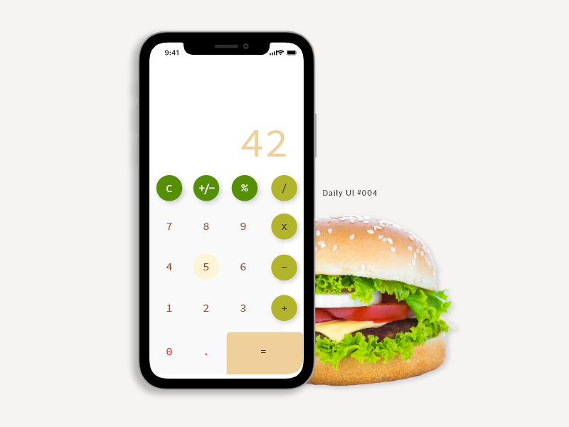 Daily UI 004 - Calculator Design fast food fastfood burger calculator app calculator ui calculator daily ui 004 minimal app ux  ui ui ux daily ui dailyui challenge dribbble design