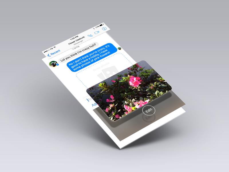 Messenger Photo Share Interaction ixd ios prototype design ui ux photo messenger facebook redesign
