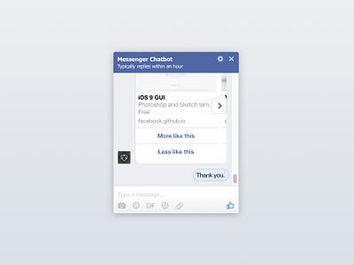 Facebook Messenger UI Kit for Chatbots (Sketch) app ui ux resource sketch messenger facebook freebie ui kit
