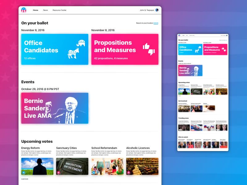 Politiclear ixd ui ux colorful bright simple clean politics usa america web