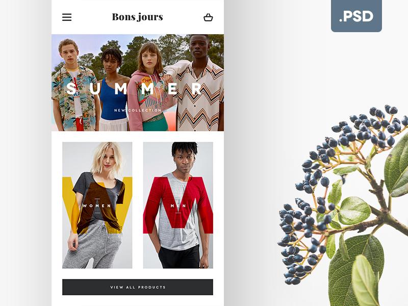 Mobile Eshop Homepage - Free .PSD free freebie free psd shop fashion app webdesign homepage eshop mobile