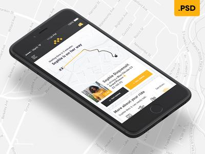 """Social Cab"" Uber-Like app - Free .PSD taxi free ios iphone mobile freebie psd free psd app uber ux ui"